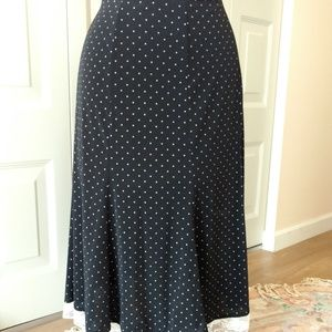 Black with Tan Dots Fit and Flare Skirt - B Moss